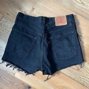 Levi's 501 black distressed shorts